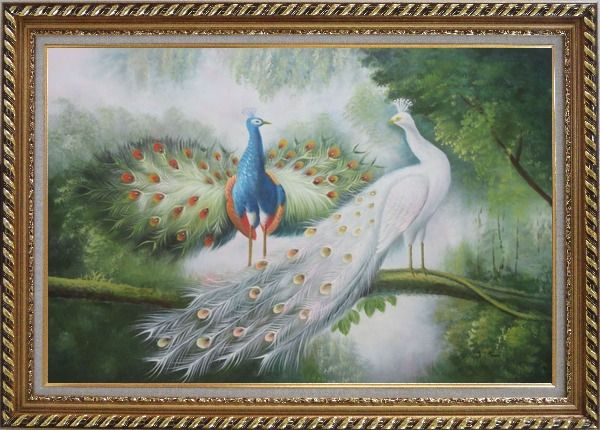 Framed Couple of Peacocks on Display Oil Painting Animal Naturalism Exquisite Gold Wood Frame 30 x 42 Inches