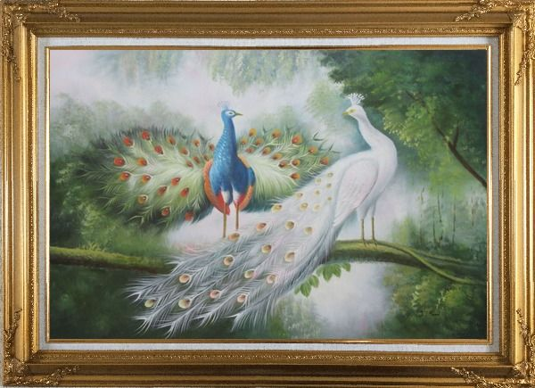 Framed Couple of Peacocks on Display Oil Painting Animal Naturalism Gold Wood Frame with Deco Corners 31 x 43 Inches