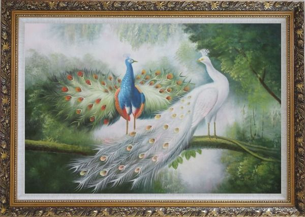 Framed Couple of Peacocks on Display Oil Painting Animal Naturalism Ornate Antique Dark Gold Wood Frame 30 x 42 Inches