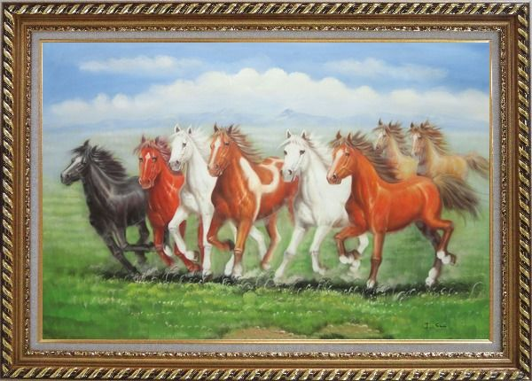 Framed Eight Joyful Running Horses in Green Field Oil Painting Animal Naturalism Exquisite Gold Wood Frame 30 x 42 Inches
