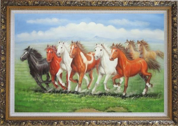 Framed Eight Joyful Running Horses in Green Field Oil Painting Animal Naturalism Ornate Antique Dark Gold Wood Frame 30 x 42 Inches