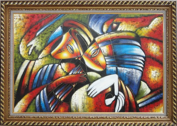 Framed Couple Playing Musics, Picasso Reproduction Oil Painting Portraits Modern Cubism Exquisite Gold Wood Frame 30 x 42 Inches