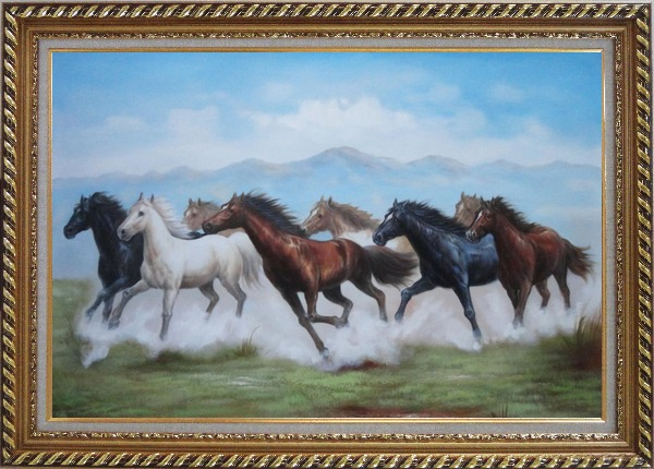 Framed 8 Running Horses on the Prairie Oil Painting Animal Naturalism Exquisite Gold Wood Frame 30 x 42 Inches