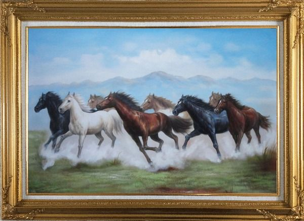 Framed 8 Running Horses on the Prairie Oil Painting Animal Naturalism Gold Wood Frame with Deco Corners 31 x 43 Inches