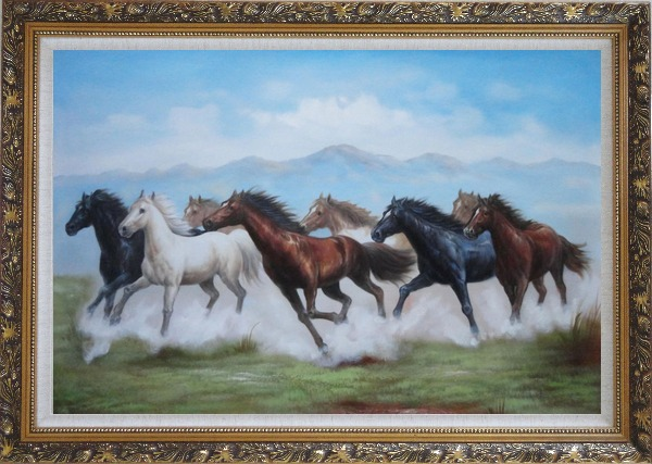 Framed 8 Running Horses on the Prairie Oil Painting Animal Naturalism Ornate Antique Dark Gold Wood Frame 30 x 42 Inches