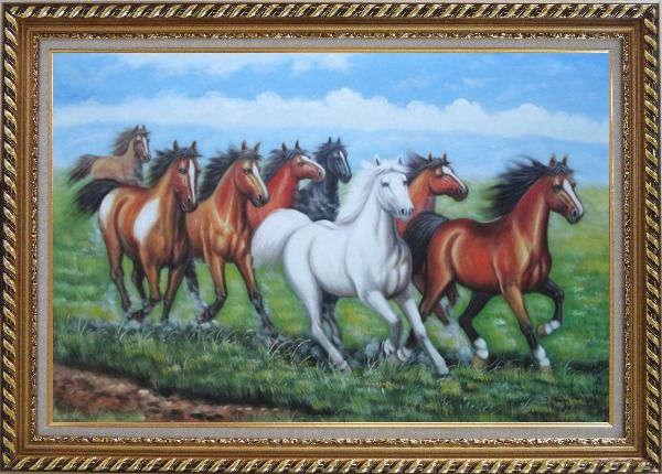 Framed Eight Horses Oil Painting Animal Naturalism Exquisite Gold Wood Frame 30 x 42 Inches