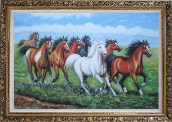 Framed Eight Horses Oil Painting Animal Naturalism Ornate Antique Dark Gold Wood Frame 30 x 42 Inches