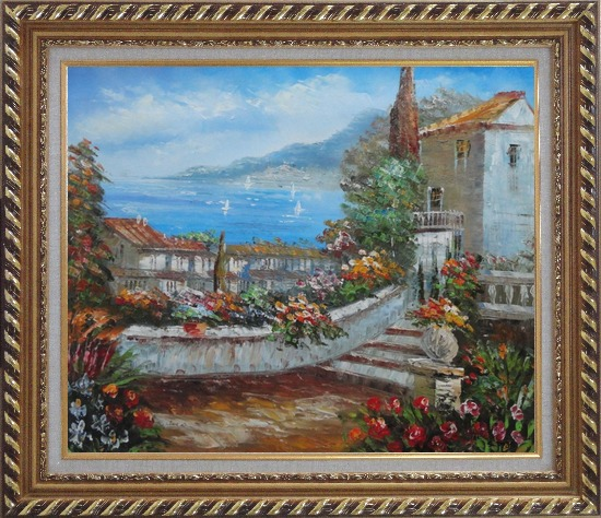 Framed Colorful Walkway at Mediterranean Villa Oil Painting Impressionism Exquisite Gold Wood Frame 26 x 30 Inches