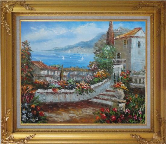 Framed Colorful Walkway at Mediterranean Villa Oil Painting Impressionism Gold Wood Frame with Deco Corners 27 x 31 Inches