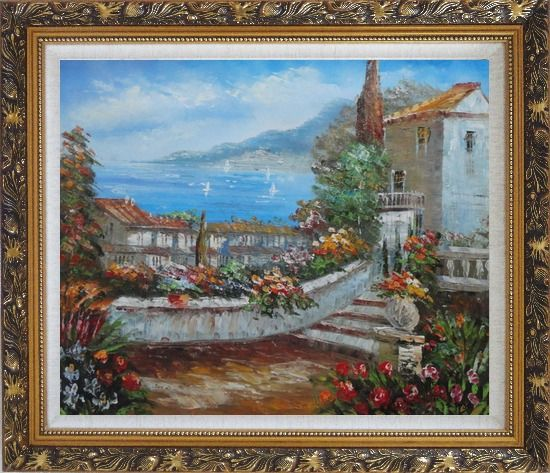 Framed Colorful Walkway at Mediterranean Villa Oil Painting Impressionism Ornate Antique Dark Gold Wood Frame 26 x 30 Inches