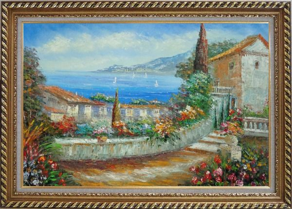 Framed Colorful Walkway at Mediterranean Villa Oil Painting Impressionism Exquisite Gold Wood Frame 30 x 42 Inches