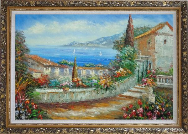 Framed Colorful Walkway at Mediterranean Villa Oil Painting Impressionism Ornate Antique Dark Gold Wood Frame 30 x 42 Inches