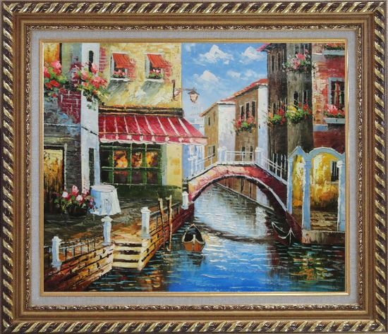 Framed Venice Canal with Bridge and Gondolas in Summer Bright Day Oil Painting Italy Naturalism Exquisite Gold Wood Frame 26 x 30 Inches