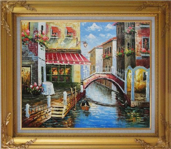 Framed Venice Canal with Bridge and Gondolas in Summer Bright Day Oil Painting Italy Naturalism Gold Wood Frame with Deco Corners 27 x 31 Inches