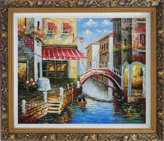 Framed Venice Canal with Bridge and Gondolas in Summer Bright Day Oil Painting Italy Naturalism Ornate Antique Dark Gold Wood Frame 26 x 30 Inches