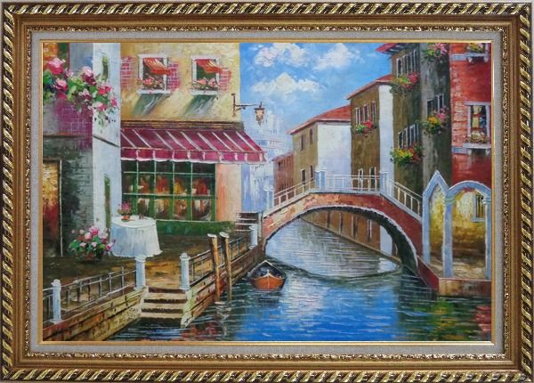 Framed Venice Canal with Bridge and Gondolas in Summer Bright Day Oil Painting Italy Naturalism Exquisite Gold Wood Frame 30 x 42 Inches