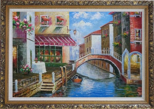 Framed Venice Canal with Bridge and Gondolas in Summer Bright Day Oil Painting Italy Naturalism Ornate Antique Dark Gold Wood Frame 30 x 42 Inches