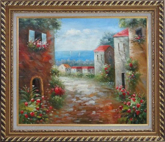 Framed Flower Path to Seaside Oil Painting Mediterranean Impressionism Exquisite Gold Wood Frame 26 x 30 Inches
