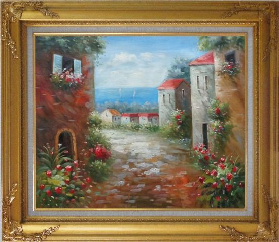 Framed Flower Path to Seaside Oil Painting Mediterranean Impressionism Gold Wood Frame with Deco Corners 27 x 31 Inches