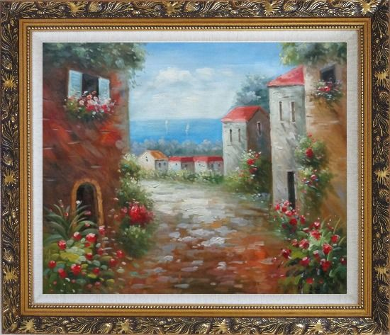 Framed Flower Path to Seaside Oil Painting Mediterranean Impressionism Ornate Antique Dark Gold Wood Frame 26 x 30 Inches