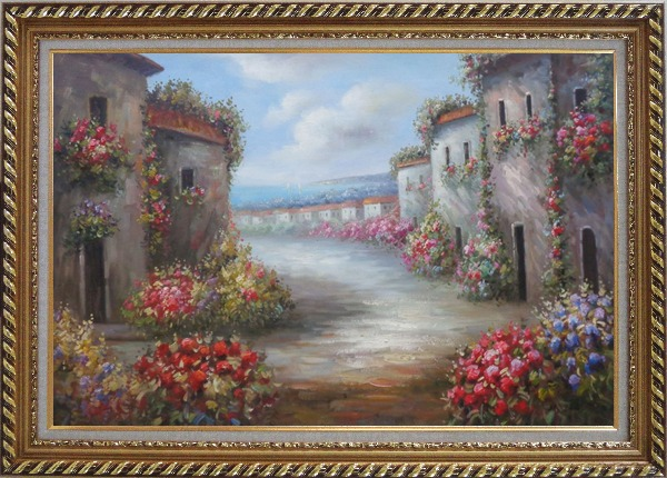 Framed Flower Alley In a Beautiful Mediterranean Village Oil Painting Naturalism Exquisite Gold Wood Frame 30 x 42 Inches