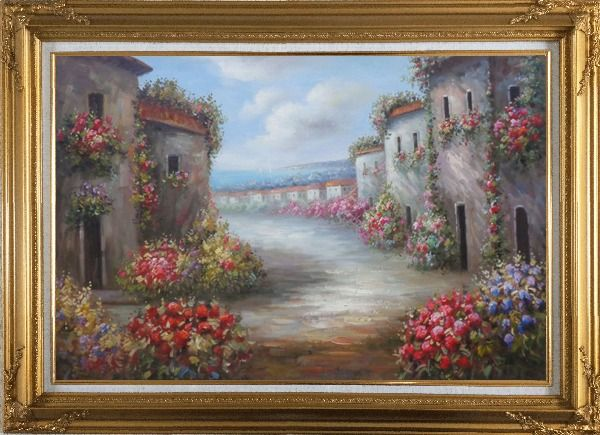 Framed Flower Alley In a Beautiful Mediterranean Village Oil Painting Naturalism Gold Wood Frame with Deco Corners 31 x 43 Inches