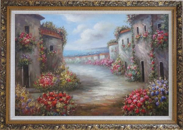 Framed Flower Alley In a Beautiful Mediterranean Village Oil Painting Naturalism Ornate Antique Dark Gold Wood Frame 30 x 42 Inches