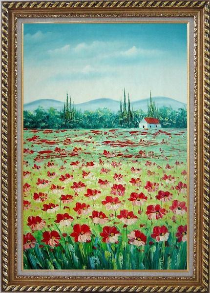 Framed Tuscan Poppy Field Oil Painting Flower Landscape Naturalism Exquisite Gold Wood Frame 42 x 30 Inches