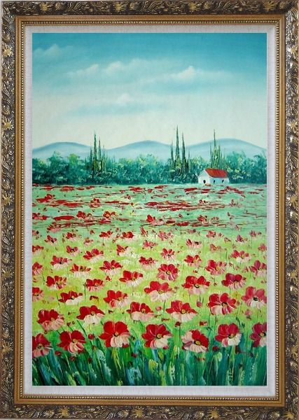 Framed Tuscan Poppy Field Oil Painting Flower Landscape Naturalism Ornate Antique Dark Gold Wood Frame 42 x 30 Inches