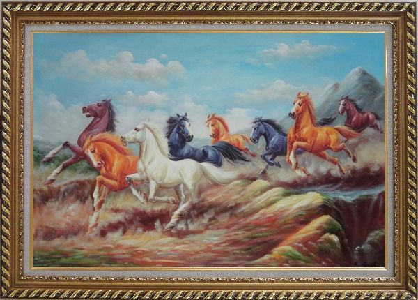 Framed  Eight Colorful Horses Galloping Joyously in the Wild Oil Painting Animal Naturalism Exquisite Gold Wood Frame 30 x 42 Inches