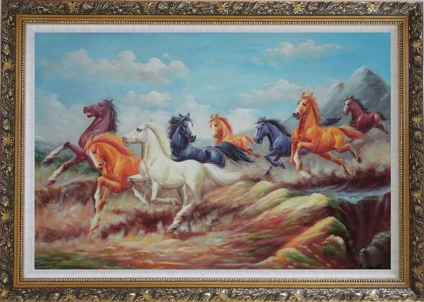Framed  Eight Colorful Horses Galloping Joyously in the Wild Oil Painting Animal Naturalism Ornate Antique Dark Gold Wood Frame 30 x 42 Inches
