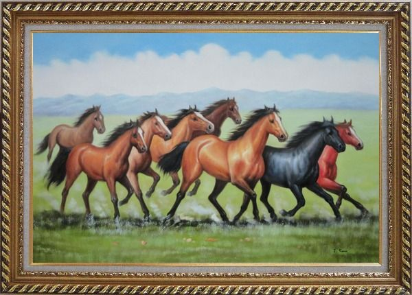 Framed Eight Joyful Running Horses in the Wild Green Meadow Oil Painting Animal Naturalism Exquisite Gold Wood Frame 30 x 42 Inches