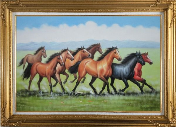 Framed Eight Joyful Running Horses in the Wild Green Meadow Oil Painting Animal Naturalism Gold Wood Frame with Deco Corners 31 x 43 Inches