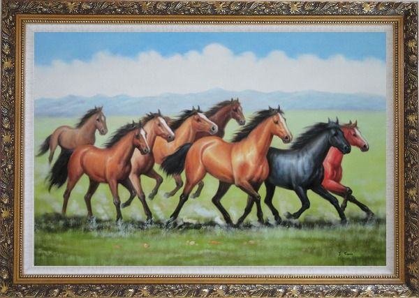 Framed Eight Joyful Running Horses in the Wild Green Meadow Oil Painting Animal Naturalism Ornate Antique Dark Gold Wood Frame 30 x 42 Inches
