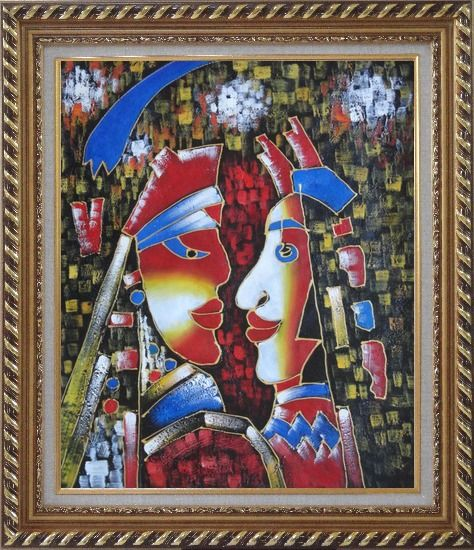 Framed Lovers, Picasso Reproduction Oil Painting Portraits Couple Modern Cubism Exquisite Gold Wood Frame 30 x 26 Inches