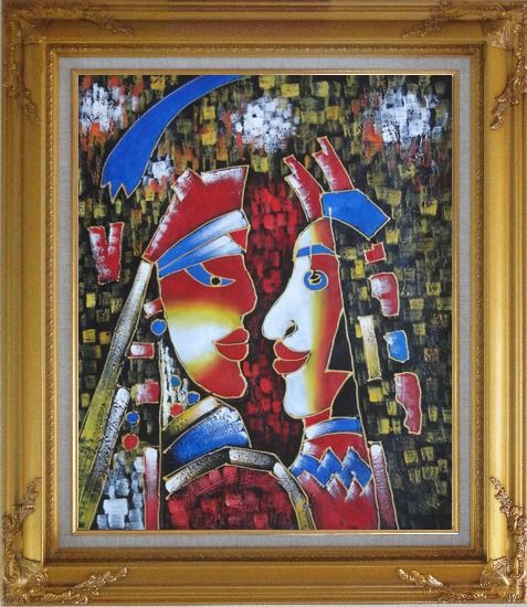 Framed Lovers, Picasso Reproduction Oil Painting Portraits Couple Modern Cubism Gold Wood Frame with Deco Corners 31 x 27 Inches