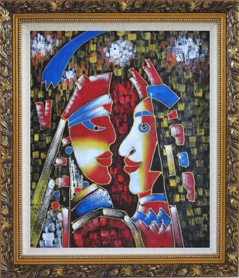 Framed Lovers, Picasso Reproduction Oil Painting Portraits Couple Modern Cubism Ornate Antique Dark Gold Wood Frame 30 x 26 Inches