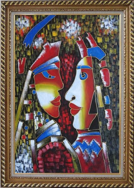 Framed Lovers, Picasso Reproduction Oil Painting Portraits Couple Modern Cubism Exquisite Gold Wood Frame 42 x 30 Inches