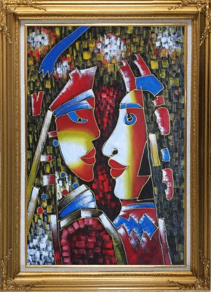 Framed Lovers, Picasso Reproduction Oil Painting Portraits Couple Modern Cubism Gold Wood Frame with Deco Corners 43 x 31 Inches