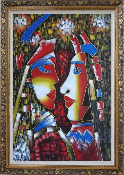 Framed Lovers, Picasso Reproduction Oil Painting Portraits Couple Modern Cubism Ornate Antique Dark Gold Wood Frame 42 x 30 Inches