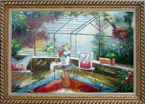 Framed Garden Pleasure Oil Painting Italy Naturalism Exquisite Gold Wood Frame 30 x 42 Inches
