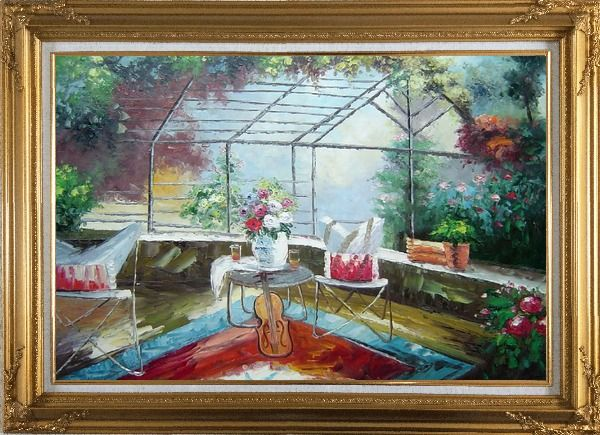 Framed Garden Pleasure Oil Painting Italy Naturalism Gold Wood Frame with Deco Corners 31 x 43 Inches