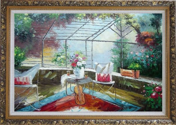 Framed Garden Pleasure Oil Painting Italy Naturalism Ornate Antique Dark Gold Wood Frame 30 x 42 Inches