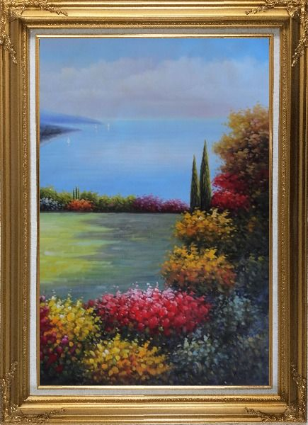 Framed Flourishing Flower Garden Overlook Mediterranean Sea Oil Painting Naturalism Gold Wood Frame with Deco Corners 43 x 31 Inches