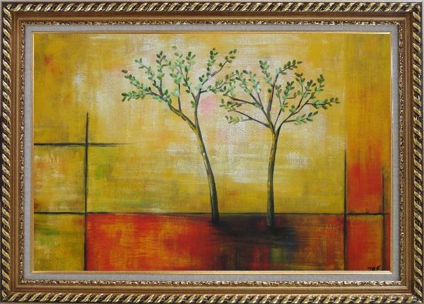 Framed Modern Green Tree Painting Oil Landscape Decorative Exquisite Gold Wood Frame 30 x 42 Inches