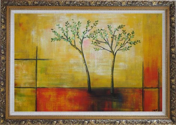 Framed Modern Green Tree Painting Oil Landscape Decorative Ornate Antique Dark Gold Wood Frame 30 x 42 Inches