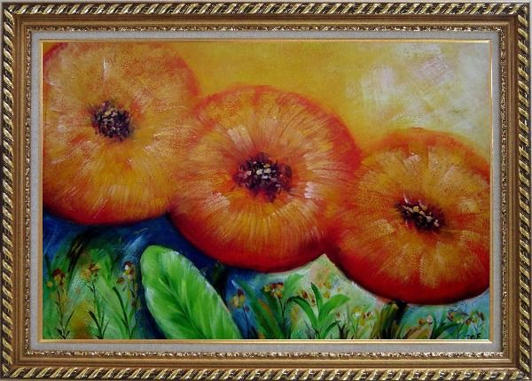 Framed Modern Yellow Sunflower Oil Painting Decorative Exquisite Gold Wood Frame 30 x 42 Inches