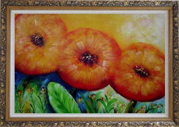 Framed Modern Yellow Sunflower Oil Painting Decorative Ornate Antique Dark Gold Wood Frame 30 x 42 Inches