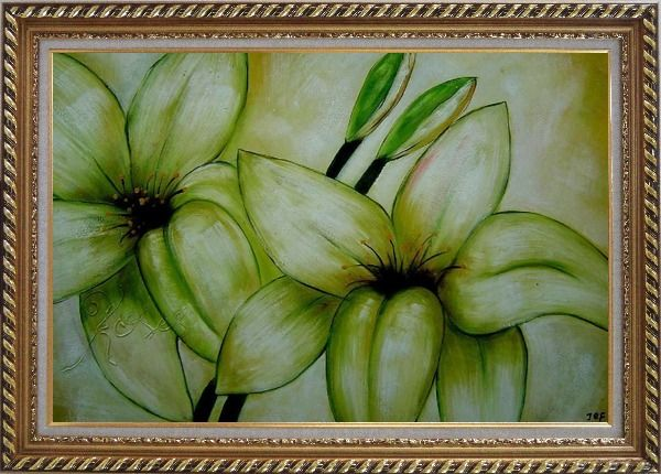Framed Blooming Yellow Lily in Springtime Oil Painting Flower Decorative Exquisite Gold Wood Frame 30 x 42 Inches