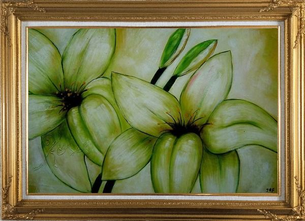 Framed Blooming Yellow Lily in Springtime Oil Painting Flower Decorative Gold Wood Frame with Deco Corners 31 x 43 Inches